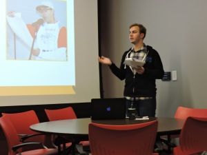 RU senior Brandon Rohlwing gave a presentation about suicide prevention and mental health. Photo by Rachel Popa