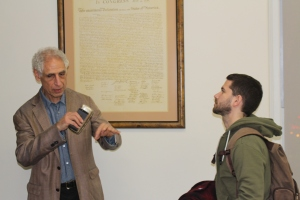 Cintron goes into further detail with a student about his lecture. Photo Credit: Quinton R. Arthur