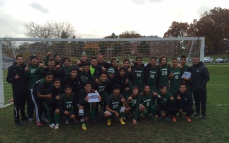 The men's soccer team celebrates their victory following their first ever conference win. Photo Credit: Roosevelt Athletic Department