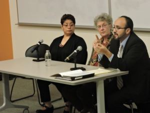 Panelists (left to right) Isabel Escobar, Mechthild Hart and Jose Alonso answer questions about workplace violence. Photo by Rachel Popa