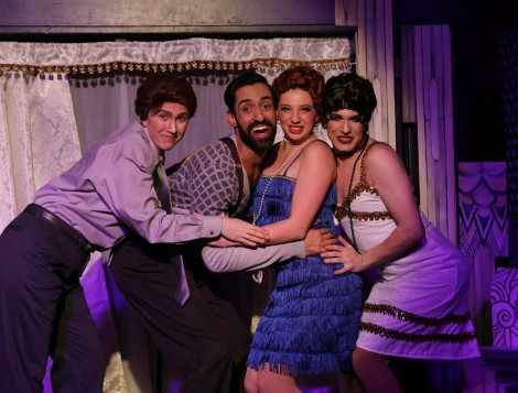 (left to right) A visit to Christmas past with Frank (Christea Parent), Henry (Shiv Mann), 1920s Joan Crawford (Alexa Castelvecchi) and Olive LaLake (Kristopher Bottrall) in the holiday comedy Christmas Dearest. Photo by Rick Aguilar Studios, courtesy of Hell in a Handbag Productions.