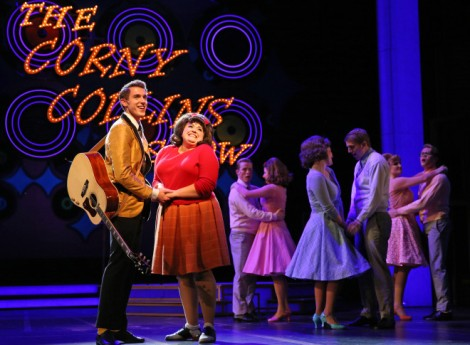 Amelia Jo Parish plays Tracy Turnblad and Henry McGinniss is Link Larkin in Paramount Theatre's plus size production of Hairspray - The Broadway Musical. Performances are January 20-February 21, 2016 at the Paramount Theatre, 23 E. Galena Blvd. in downtown Aurora. Tickets: paramountaurora.com or 630-896-6666. Photo credit: Liz Lauren