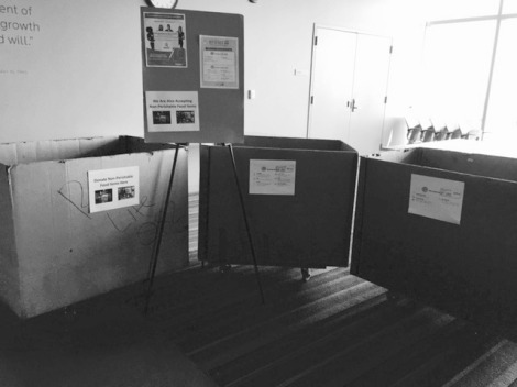 Photo Courtesy of Rebecca B. Quesnell. Caption: Donation boxes that were set up on the Wabash 14th floor lounge in May for unwanted dorm supplies.