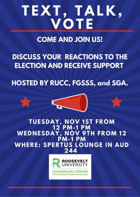 Photo Caption: SGA, RUCC, and FGSS will hold an election event on November 1. Photo Courtesy of Roosevelt Counseling Center